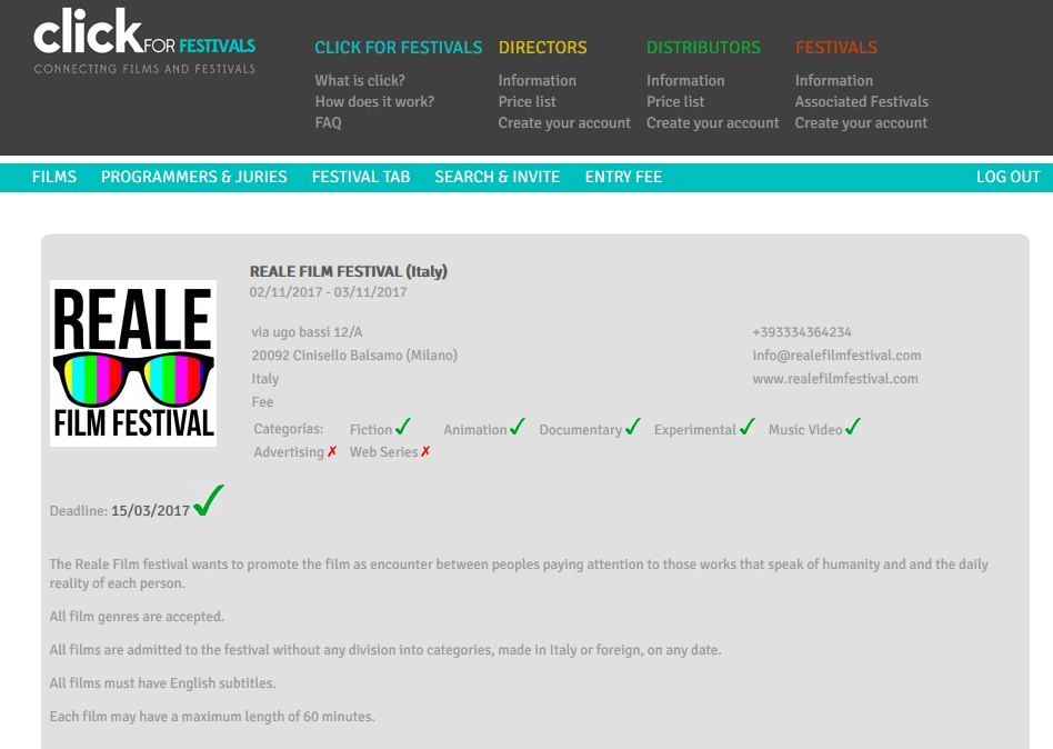 RFF ora disponibile su clickforfestival! / RFF now available on clickforfestival!